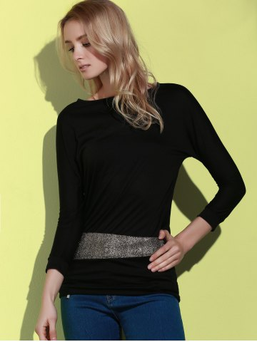 Cheap Long Sleeve Sequin Embellished Packet Buttock Cotton Blend T-Shirt - ONE SIZE BLACK Mobile