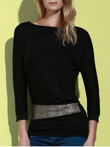 Store Long Sleeve Sequin Embellished Packet Buttock Cotton Blend T-Shirt - ONE SIZE BLACK Mobile