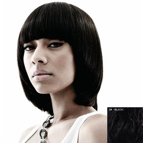 Fashion Bob Style Short Capless Elegant Full Bang Straight Real Human Hair Wig For Women