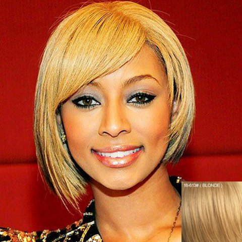 Unique Stylish Short Asymmetry Straight Bob Style Side Bang Capless Human Hair Wig For Women