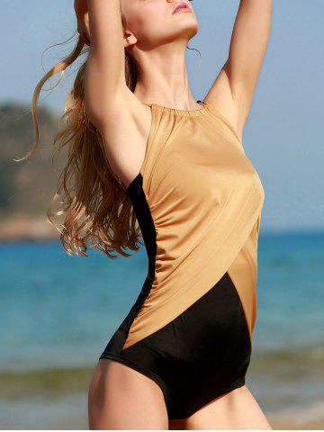 Shops Scoop Neck Hit Color One Piece Swimwear