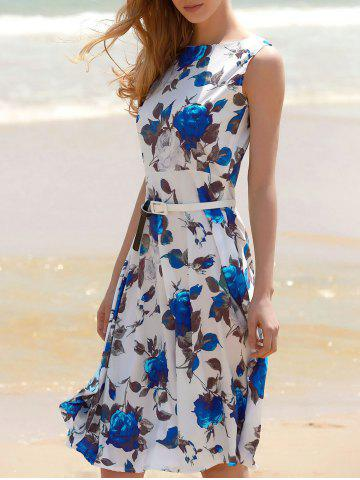 Floral Print A Line Sleeveless Midi Dress - Blue - M