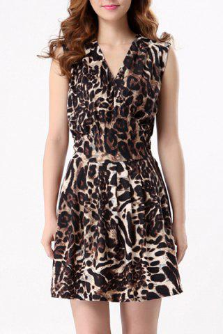 Online Chic V-Neck Leopard Sleeveless Dress For Women LEOPARD M