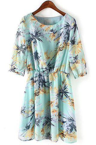 Buy Sweet Scoop Neck Leaves Print Half Sleeve Dress For Women