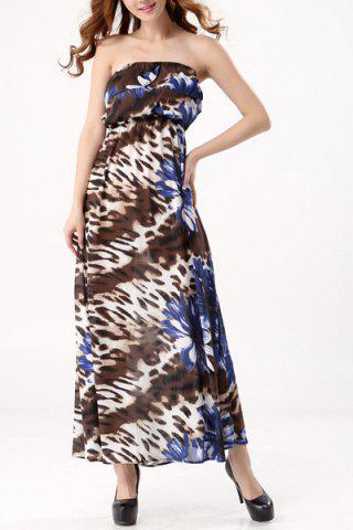 Best Bohemian Style Strapless Floral Print Maxi Dress For Women