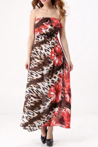 Fancy Bohemian Style Strapless Floral Print Maxi Dress For Women
