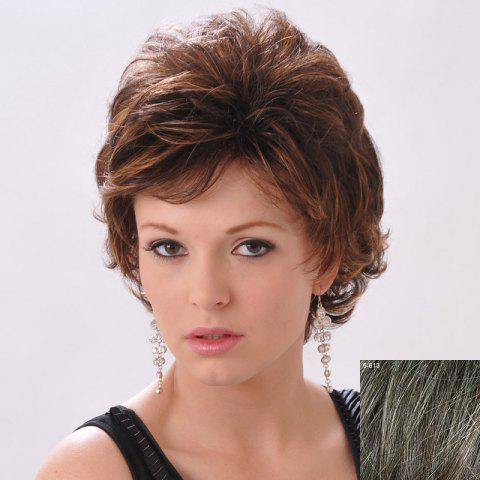 Chic Shaggy Side Bang Curly Human Hair Short Wig For Women