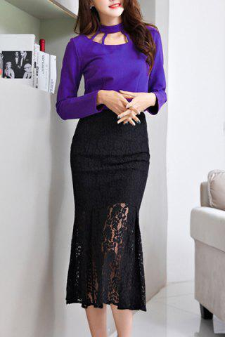 Shops Charming Stand Collar Long Sleeve Mermaid Dress For Women