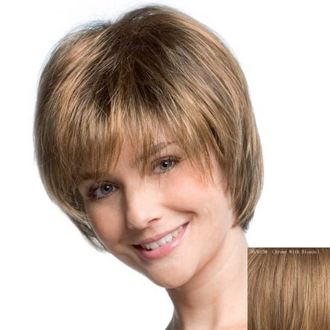 Online Women's Fluffy Inclined Bang Short Human Hair Wig