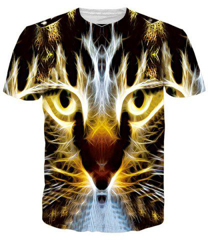 Shop Gleamy 3D Tiger Print Round Neck Short Sleeves T-Shirt For Men