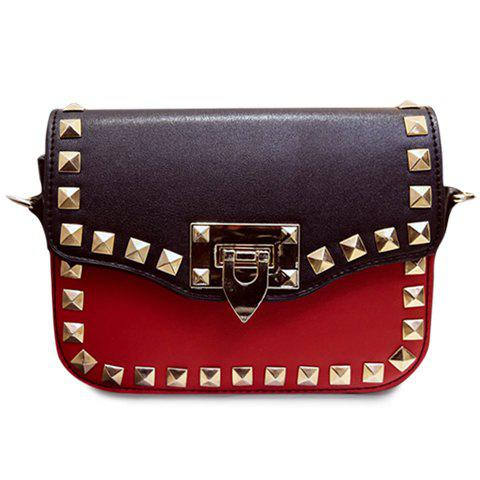 Affordable Trendy Colour Block and Rivets Design Crossbody Bag For Women