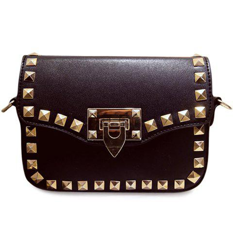 Best Stylish Rivets and Black Colour Design Crossbody Bag For Women BLACK