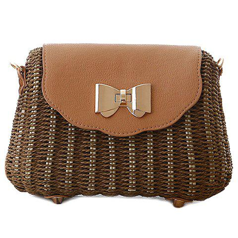 Fashion Trendy Cover and Weaving Design Shoulder Bag For Women - DEEP BROWN  Mobile