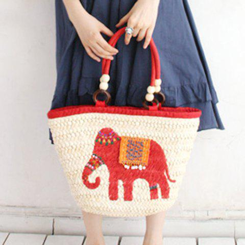 Shop Fashion Elephant Pattern and Weaving Design Tote Bag For Women - RED  Mobile