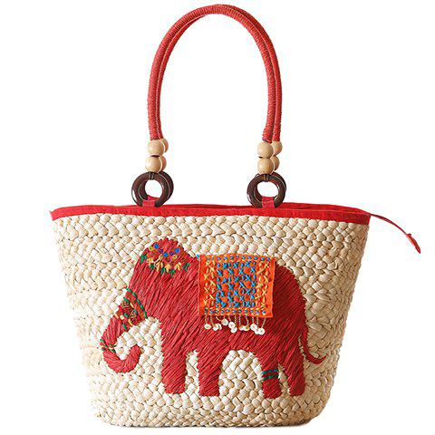 Store Fashion Elephant Pattern and Weaving Design Tote Bag For Women - RED  Mobile