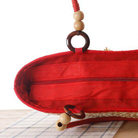 Fancy Fashion Elephant Pattern and Weaving Design Tote Bag For Women - RED  Mobile