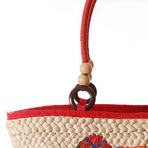 Trendy Fashion Elephant Pattern and Weaving Design Tote Bag For Women - RED  Mobile