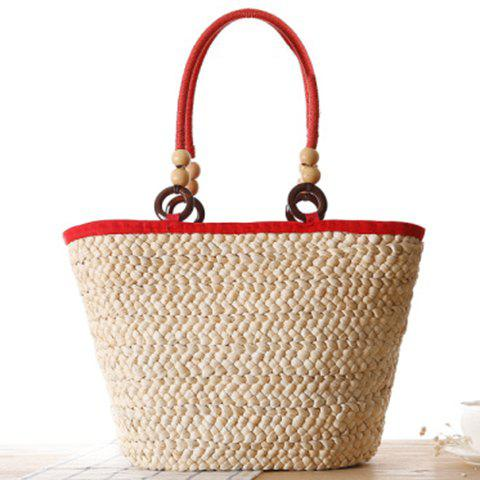 Fashion Fashion Elephant Pattern and Weaving Design Tote Bag For Women - RED  Mobile