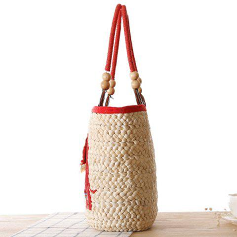 Hot Fashion Elephant Pattern and Weaving Design Tote Bag For Women - RED  Mobile