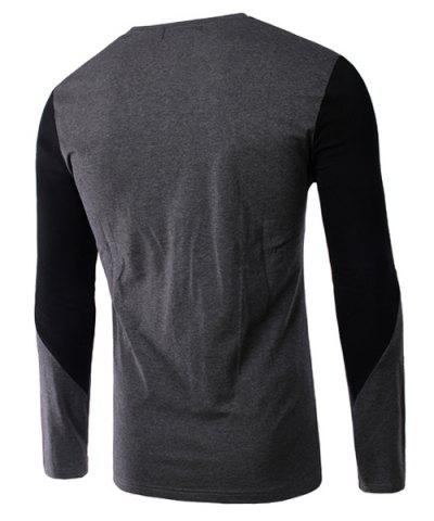 Sale Splicing Design V-Neck Long Sleeve Slimming T-Shirt For Men - M BLACK Mobile