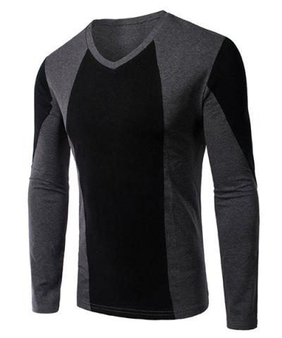 Cheap Splicing Design V-Neck Long Sleeve Slimming T-Shirt For Men - M BLACK Mobile