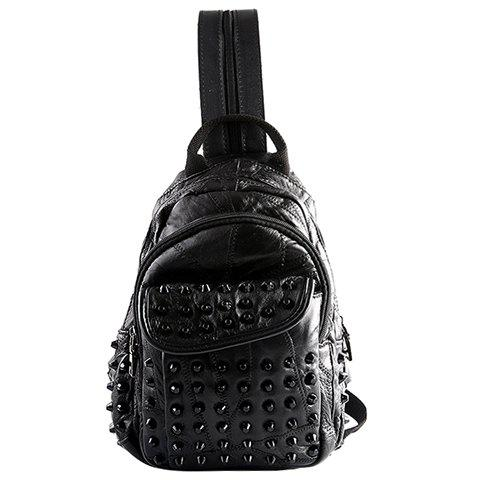 Unique Fashion PU Leather and Rivets Design Backpack For Men