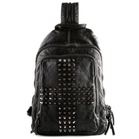 Outfit Casual PU Leather and Rivets Design Backpack For Men -   Mobile