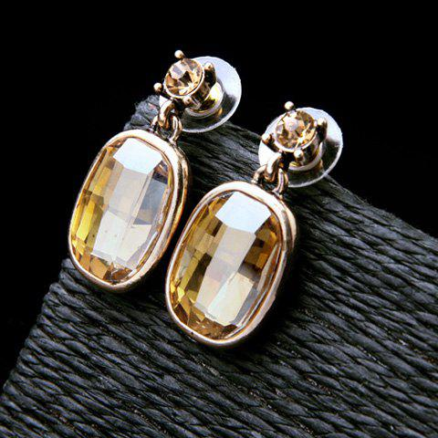 Buy Pair of Vintage Faux Crystal Oval Earrings