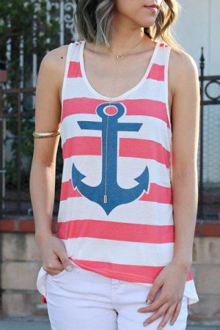 Stylish Scoop Collar Sleeveless Striped Anchor Print Women's Tank Top - Red - S