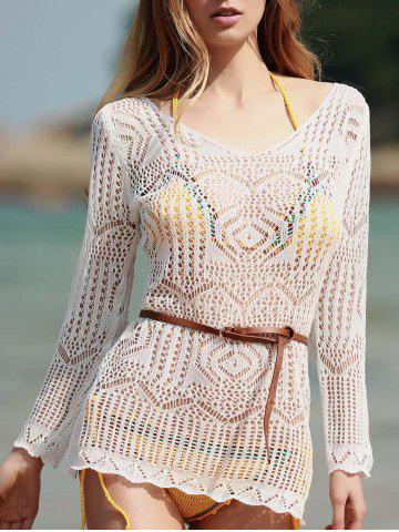 Chic Long Sleeve Hollow Out Swimwear Cover-Ups - ONE SIZE(FIT SIZE XS TO M) WHITE Mobile