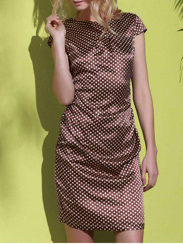 Affordable Stylish Scoop Neck Polka Dot Print Short Sleeve Dress For Women COFFEE S
