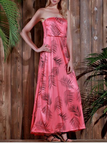 New Maxi Strapless Print Summer Prom Dress WATERMELON RED S