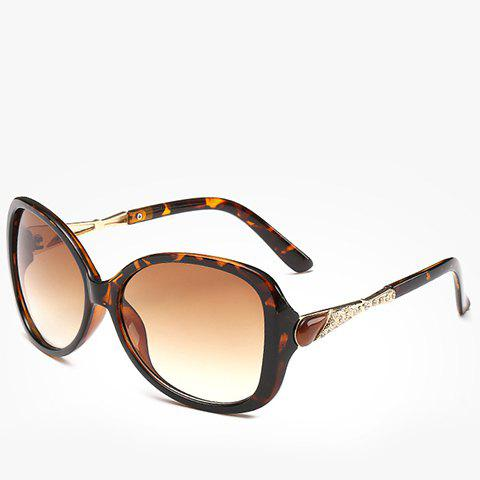 Chic Chic Faux Amber and Rhinestone Decorated Flecky Sunglasses For Women