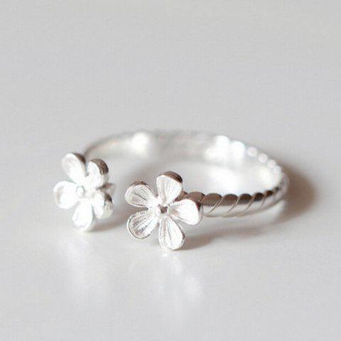 Trendy Alloy Floral Cuff Ring SILVER ONE-SIZE