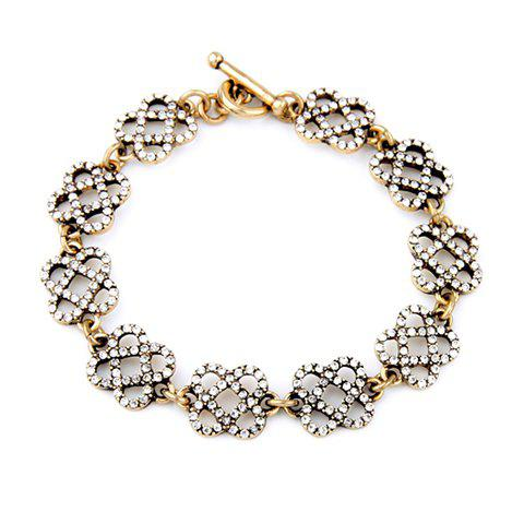 Discount Gorgeous Rhinestone Floral Hollow Out Bracelet For Women