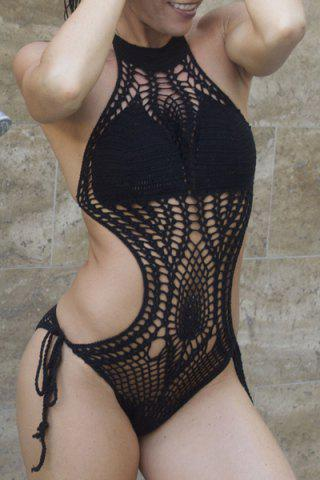 Shops Sexy Halter High Neck Crochet Monokini One-Piece Swimsuit