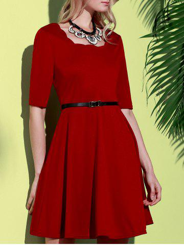 Best Stylish Square Neck Half Sleeve Pure Color Women's A-Line Dress WINE RED S