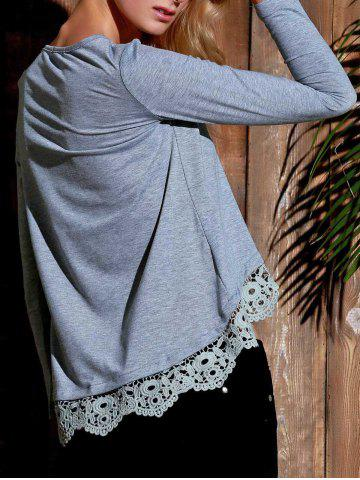 Outfit Stylish Lace Spliced Hem Long Sleeve Gray T-Shirt For Women - GRAY M Mobile