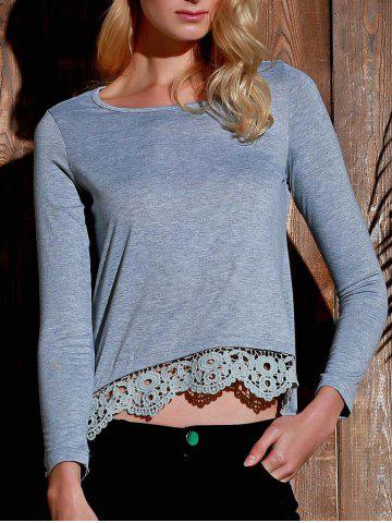 Shop Stylish Lace Spliced Hem Long Sleeve Gray T-Shirt For Women - GRAY L Mobile