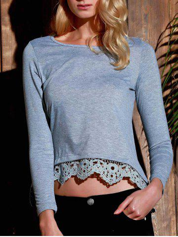 Store Stylish Lace Spliced Hem Long Sleeve Gray T-Shirt For Women