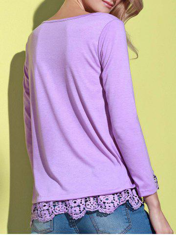 Discount Stylish Solid Color Lace Spliced Hem Long Sleeve T-Shirt For Women - PURPLE L Mobile