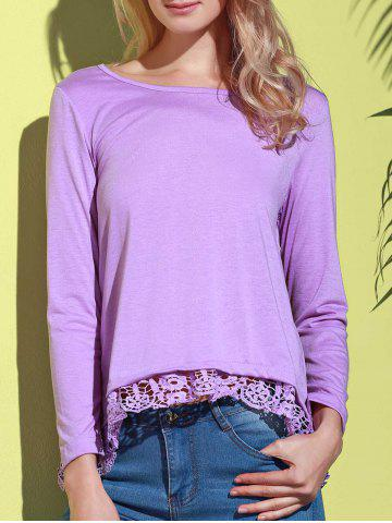 Sale Stylish Solid Color Lace Spliced Hem Long Sleeve T-Shirt For Women - PURPLE L Mobile