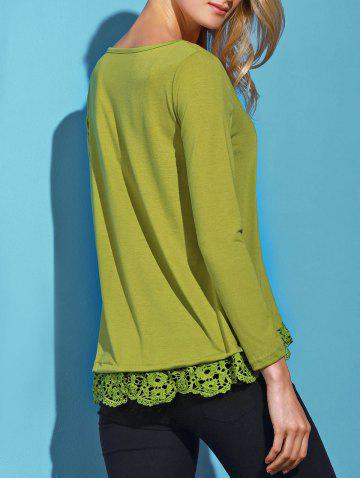 Fancy Stylish Solid Color Lace Spliced Hem Long Sleeve T-Shirt For Women - ARMY GREEN M Mobile