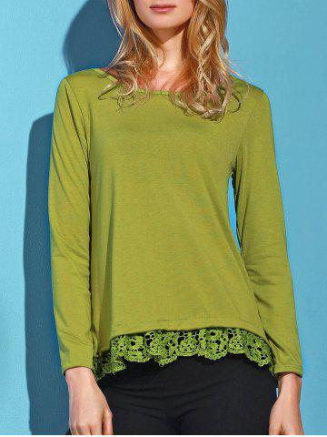 Fancy Stylish Solid Color Lace Spliced Hem Long Sleeve T-Shirt For Women - ARMY GREEN L Mobile