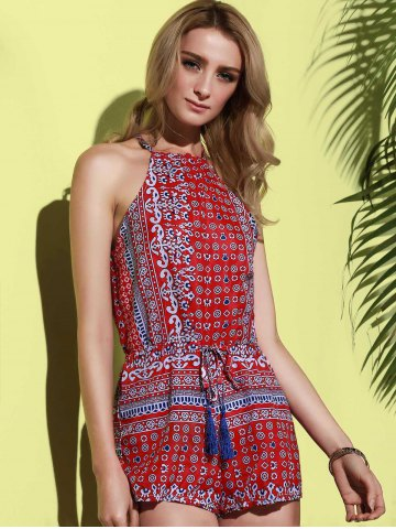 Store Sleeveless Cut Out Dressy High Neck Pants Romper - L RED Mobile