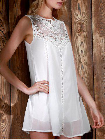 Unique Lace Panel Chiffon Casual Summer Short A Line Dress - S WHITE Mobile