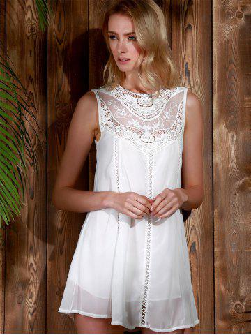 Trendy Lace Panel Chiffon Casual Summer Short A Line Dress - S WHITE Mobile