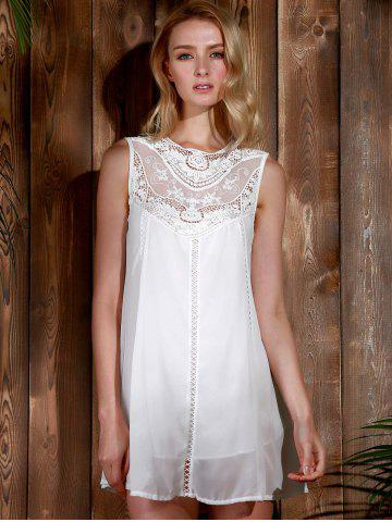 Shop Lace Panel Chiffon Casual Summer Short A Line Dress - S WHITE Mobile