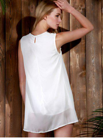 Affordable Lace Panel Chiffon Casual Summer Short A Line Dress - L WHITE Mobile