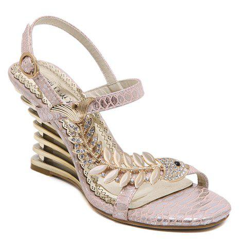 9598b1480286 2019 Stylish Rhinestone And Fishbone Design Sandals For Women ...